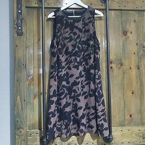 SL FASHIONS FLORAL BLACK BROWN FLOWY DRESS
